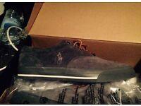 Men's boys grey suede Ralph Lauren trainers canvas shoes size 6 or 7