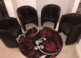 As New, 4 Leatherette Bucket Style Chairs and Rug. Comfy and well made, Looking To Sell £125