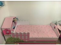 Doll house bed with mattress