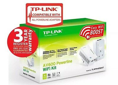 TP-LINK (TL-WPA4226KIT V1.2) 300Mbps AV600 Wireless N Powerline Adapter Kit AC P