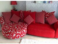 DFS Red Poise Range 4 Piece Suite - Corner Chaise Sofa Couch, Swivel Chair, Armchair & Footstool