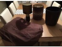 Brown accessories - lamp, shade, faux leather bin & long curtains to fit patio/ French doors