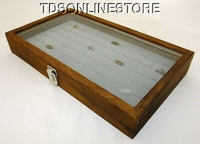 Rustic Antique Brown Color 72 Ring Glass Top Display Case Gray Insert