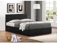 DOUBLE LEATHER BED + FREE MATTRESS NOW ONLY £99