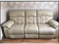 Recliner cream leather 3 seater and 2 seater sofas