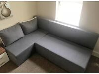FREE DELIVERY GREY FABRIC L-SHAPED SOFA BED GOOD CONDITION