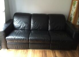 3 seater and 2 seater black leather recliners
