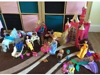 Disney princess bundle, with castle, 2x horses furniture & more