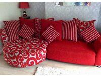 DFS Red Poise Range 4 Piece Suite - Chaise Corner Sofa, Swivel Chair, Armchair & Pouffe