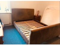 King Size Bed frame for Sale with two bedside cabinets and free basic mattress very good
