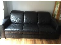 3 seater and 2 seater recliner black leather sofas