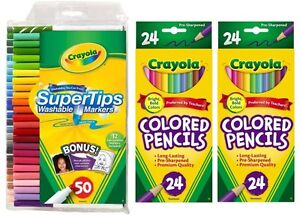 Crayola 50pk Fine Tip Markers + 24pk Colored Pencils (x2)