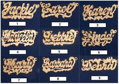 Gold Any Nameplate Necklace Pendant - Personalized Sterling Silver Gold Any Name Plate Script Chain Necklace 9 Styles