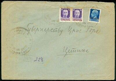 Montenegro   Italian Occupation Registered 1942 Cover To Cetinje