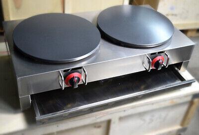 New Crepes Maker Commercial Pancake Fruit Machine Double Heads Lp Gas