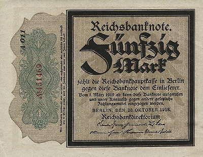 """Ro.056e 50 Mark 1918 (1/1-) """"Trauerschein"""""""