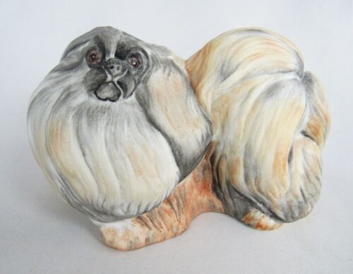 Hollohaza Hungary Hand Painted Porcelain Pekingese Dog Figurine