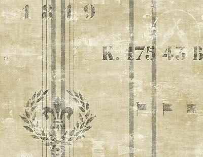 Wallpaper Designer Nautical Gray Stripe on Beige Faux Linen With Wreath & Flags