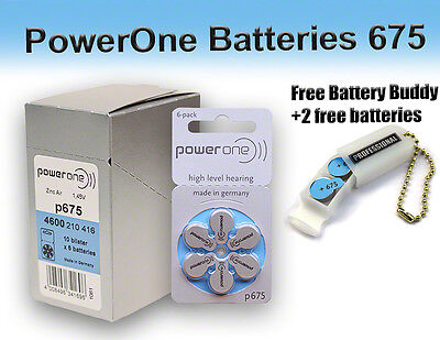 60 PowerOne Hearing Aid Batteries Size 675 + Free Keychain/2 Extra Batteries
