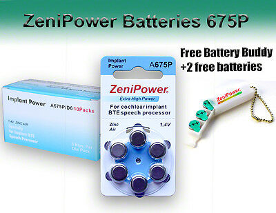 Zenipower Hearing Aid Batteries Size 675p Implant + Free Keychain