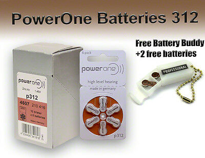 60 Powerone Hearing Aid Batteries Size 312 + Free Keychain/2 Extra Batteries