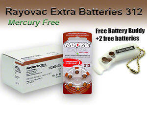 60 Rayovac Hearing Aid Batteries Size 312 Mercury Free +Holder/2 Extra Batteries