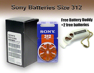 60 Sony Hearing Aid Batteries Size: 312 (pr41) + Free Keychain/2 Extra Batteries