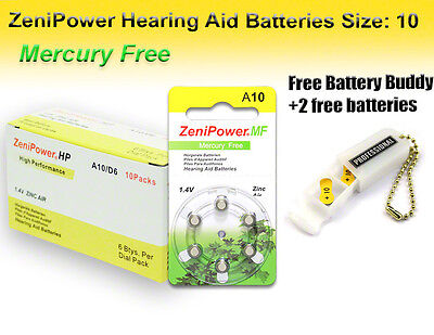 60 Zenipower Mf Hearing Aid Batteries Size 10 + Free Keychain/2 Extra Batteries