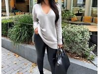 Pretty Little Thing Grey Oversized V Neck Knitted Jumper