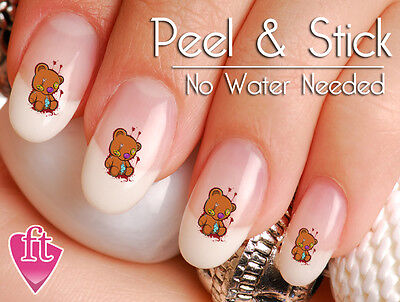Bloody Teddy Bear Toy Halloween Scary Nail Decal Stickers BER106 - Scary Halloween Nails
