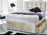 🔥💗🔥SAME DAY FREE LONDON DROP🔥🔥New Double/King Crush Velvet Divan Bed Base + Deep Quilt Mattress