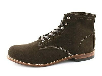 Men's WOLVERINE '1000 Mile' Brown Plain Toe Suede Boots Size US 8D Made In USA! Wolverine Plain Toe