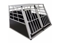 Double door dog crate with dividing wall by TecTake car transporter