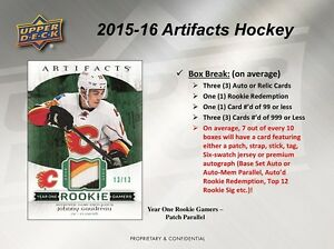 2015-16 Upper Deck Artifacts Hockey Trading Cards Hobby Box Kitchener / Waterloo Kitchener Area image 3