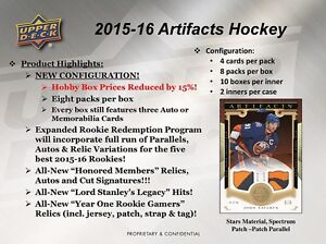 2015-16 Upper Deck Artifacts Hockey Trading Cards Hobby Box Kitchener / Waterloo Kitchener Area image 2