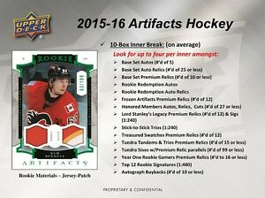 2015-16 Upper Deck Artifacts Hockey Trading Cards Hobby Box Kitchener / Waterloo Kitchener Area image 4