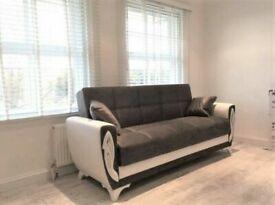 🤘🏻💓2020 DOOR BUSTER SALE TURKISH DESIGN FABRIC STORAGE SOFA BEDS SETTEE BLACK BROWN GREY SOFABED