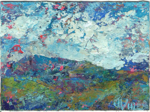 COOL MTNS II Original Abstract Knife Landscape Painting ACEO mini 2.5x3.5in ART