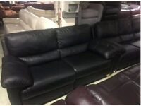 Black leather 3 & 2 seater sofas recliner
