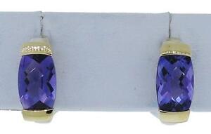 Lorenzo LZE049-AM Women's Sterling Silver 18K Amethyst Huggie Earrings 3/4