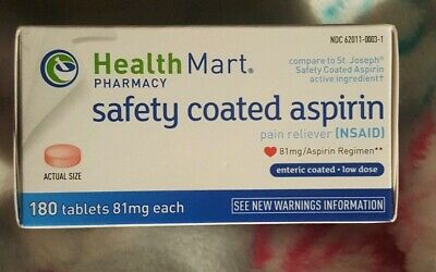 Health Mart safety coated Aspirin 81mg Enteric Coated Pain Reliever 180 -