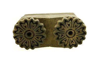 Antique Bunta Stamped Wood Printing Fabric Textile Batik Rajasthan India X21