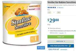 Similac for Babies Sensitive to Lactose, 728g Powder  50$/3CANS