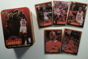 5 - Michael Jordan Metal Collector Cards In Tin