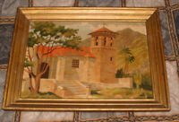 Vintage Two Spanish Mission Paintings circa 1960's 70's