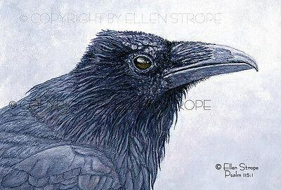 ACEO PRINT, Raven, Bird ACEOS, Bird Art, Giclee ACEO Print, ACEOS