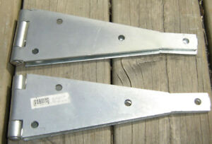 "SET OF 2 HEAVY DUTY ZINC PLATED 10"" STRAP HINGES NEVER USED"