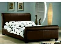King size Sleigh bed brown leather with mattress and under bed storage
