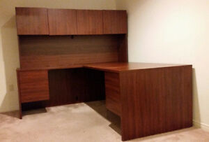 L-shaped executive desk with hutch and filing drawer $295.00