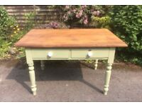 Waxed Pitch Pine Farmhouse Kitchen Table with Drawers